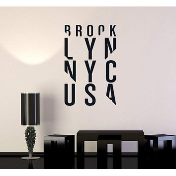 Vinyl Wall Decal Brooklyn NYC New York Lettering USA Urban Art Stickers Mural (ig5252)