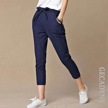 Women Pants Casual Cropped Trousers Pants Capris Harem Pants Women Overall Students Pants S 4Xl