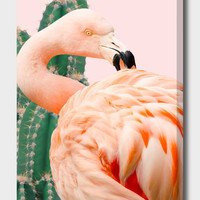 «Flamingo & Cactus», Numbered Edition Canvas Print by Uma Gokhale - From $49 - Curioos