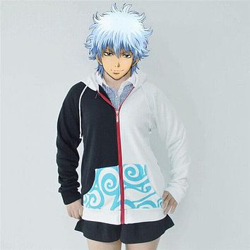 Anime Silver Soul Cosplay Costumes Hoodies Gintama Sakata Gintoki Hooded Coats