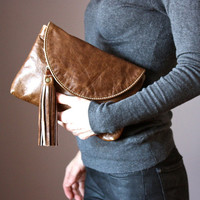Distressed leather clutch,  leather purse, Multi Pockets Leather Wallet, leather fringe tassel, Brown cowhide , credit card slots