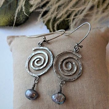 One of a Kind Artisan Crafted Sterling Silver Peacock Pearl Swirl Dangle Earrings