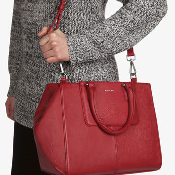 Matt and Nat Kite Dwell Satchel Handbag. Bordeaux Red Vegan Leather.