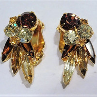 Vintage Rhinestone Clip On Earrings Mid Century 1960s Honey Amber Topaz Cognac Root Beer Lemon Yellow Tangerine Color Rhinestones Earrings