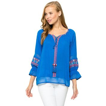 Azure Embroidered Top