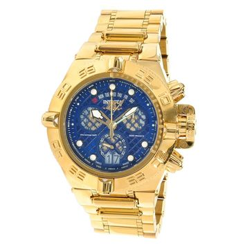 Invicta 14498 Men's Subaqua Noma IV Blue Dial Gold Plated Steel Bracelet Chronograph Dive Watch