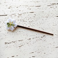 White Narcissus Flower Wood Hair Stick