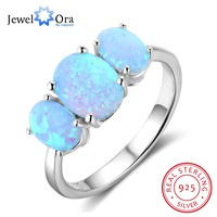 Ladies 925 Sterling Silver Blue Opal Ring