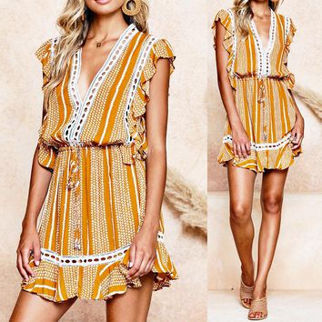 Summer new women's sexy large V-neck print V-neck dress