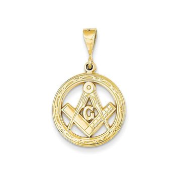14k Yellow Gold Masonic Circle Pendant, 18mm or 23mm