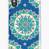 'Blue & Cream Mandala ' iPhone Case/Skin by Sarah Oelerich