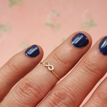 Dainty Infinity Knuckle Ring  14k gold filled Above by labelledame