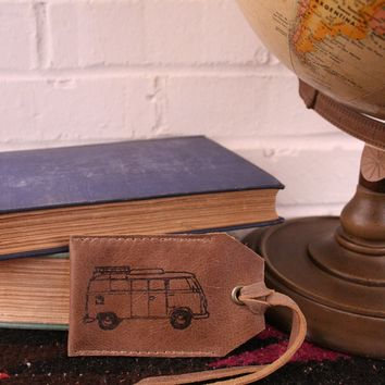 *Customizable* Volkswagon Bus Leather Luggage Tag