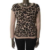 INC Womens Petites Knit Animal Print Pullover Sweater