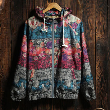 Women's Comfortable Lightweight Floral Hooded Jacket