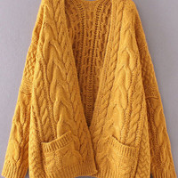 Ginger Drop Shoulder Cable Knit Cardigan With Pockets -SheIn(Sheinside)
