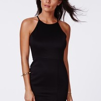 Missguided - Alberta Black 90s Style Scuba Bodycon Dress