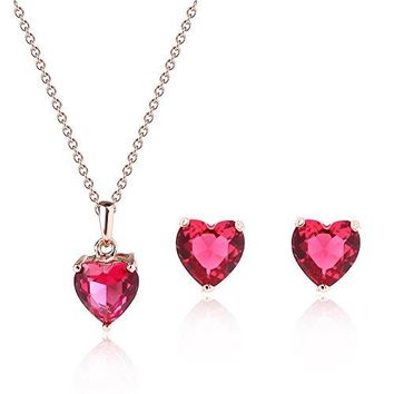 SHIP BY USPS: Women Crystal Jewelry Set Teardrop Pendant Necklace Earrings Set Red Blue
