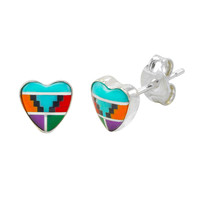 Multi Color Gemstone Earrings Sterling Silver Heart Shaped 7mm