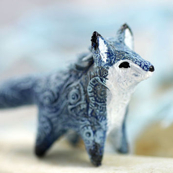 Blue Fox Animal Totem Figurine Sculpture Animal Fantasy Art magic spirit amulet