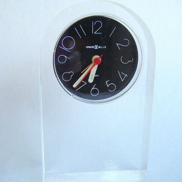 Vintage Howard Miller Lucite Bedside Alarm Clock Mid Century Modern Art Deco 1990s Black Clear Acrylic Mantel