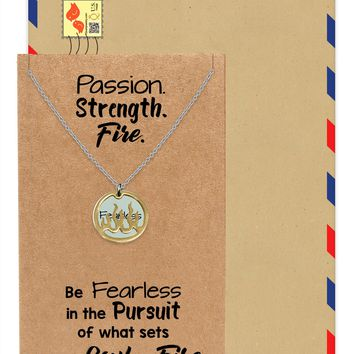 Atara Fire Pendant with Fearless on Plate Charm Necklace Inspirational Quote Greeting Card