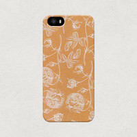 Orange Stencil Flowers iPhone 4 4s 5 5s 5c Case