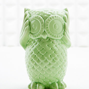 Hear No Evil Owl Money Bank in Blue - Urban Outfitters