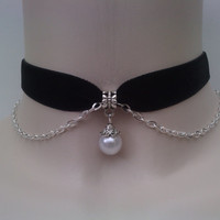 Vintage Style Faux White PEARL Bead With SP Chain BLACK Velvet Ribbon Choker Necklace -wl... or choose another colour velvet :)