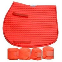 Orange Dressage or All Purpose Saddle Pad with matching Polo Wraps