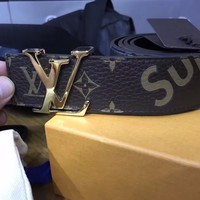 Authentic supreme x lv limited edition belt size 95 real leather brown