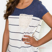 Crossing Paths Denim Short Sleeve Lace Pocket Tee