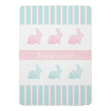Bunny Stripes Pink Aqua Personalized Baby Blanket