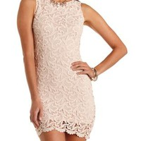 Sleeveless Crochet Bodycon Dress by Charlotte Russe - Taupe