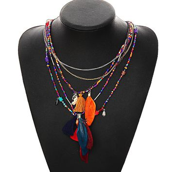 Multi-Color Feather Necklaces & Pendants Beads Chain Statement Necklace