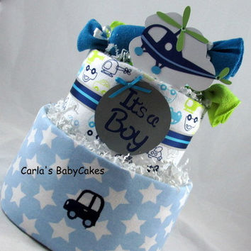 Baby Diaper Cake, Boy diaper cake, Baby shower cake, New Mom Gift, Baby Shower Centerpiece, Baby boy gift, baby shower gift, Mom to be gift