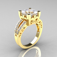 French Vintage 14K Yellow Gold Princess White Sapphire  Diamond Solitaire Ring R222-YGDWS