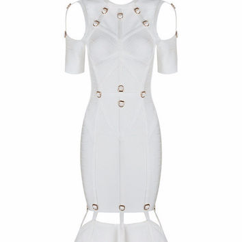 White Origami Bandage Midi Cutout Dress