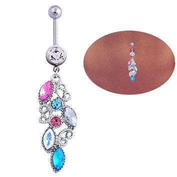 Mixed Color Rhinestone Jewelry Navel Body Piercing Belly Button Rings
