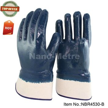 NMSafety oilproof heavy duty work gloves, full coated nitrile,safety cuff, glove manufacturer