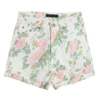 Rose Print Shorts with Turn-up Hem