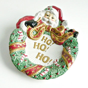 Fitz & Floyd Vintage Christmas Serving Plate, Santa Claus Plate, Holiday Serving Plate, Ho Ho Ho!
