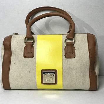 Vtg 1990s VICTORIA'S SECRET Mini Duffle Bag / Canvas with Brown and Yellow Vinyl / Bright Yellow Handbag / Small Gym Bag / Top Handle Purse