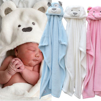 Animal shape baby hooded bathrobe bath towel baby fleece receiving blanket neonatal hold to be Children kids infant bathing