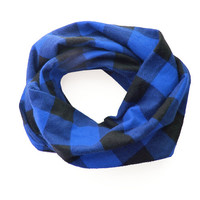 TODDLER Infinity Scarf, Flannel Plaid Toddler Scarf, Blue and Black Buffalo Check Tartan Scarf, Boys Scarf