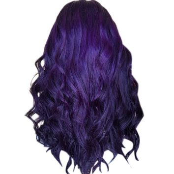 Wig Hair Women 1pc  Wigs 70CM Natural Purple Party Wig Female Long Curly Hair Fashion Synthetic Wig 2019 Jan30