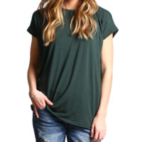 Dark Green Rolled Sleeve Piko Short Sleeve Top