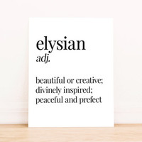 Printable Art  Elysian Typography Poster Home Decor Apartment Art