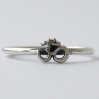Om, Aum, Ohm Ring, 925 sterling silver stacking ring : Universal Symbol of the Absolute/Divine.