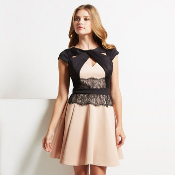 Cream And Black Lace A-Line Short Sleeve Dress